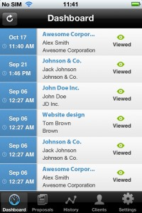iphone app proposals dashboard