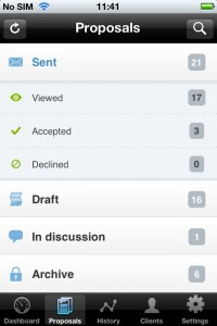 List of proposals in iPhone app
