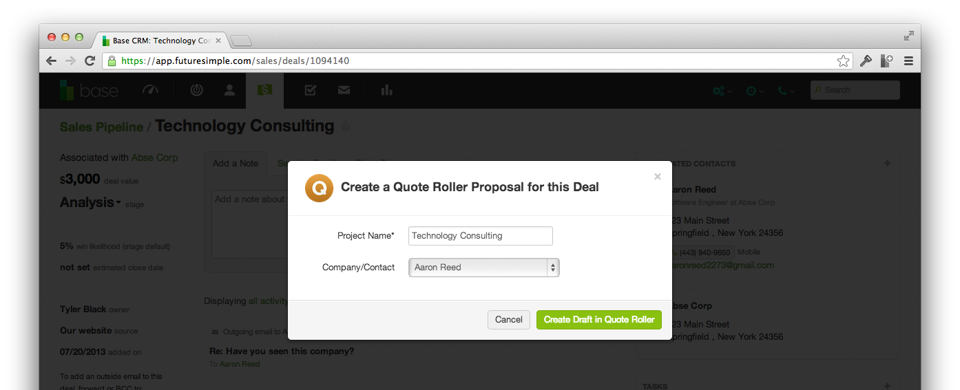 Create a Quote Roller proposal for this deal