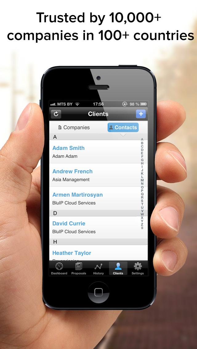 QuoteRoller iphone app contacts