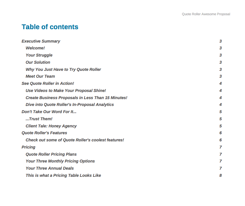 Quote-Roller-table-of-contents